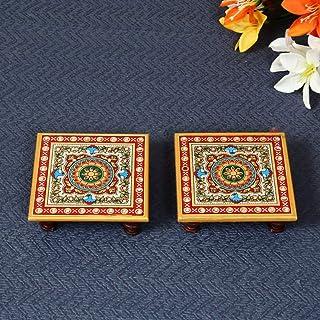Handicrafts Paradise Intricate Floral Painted Marble Chowki (10.2 cm x 10.2 cm x 2.55 cm, Set of 2)