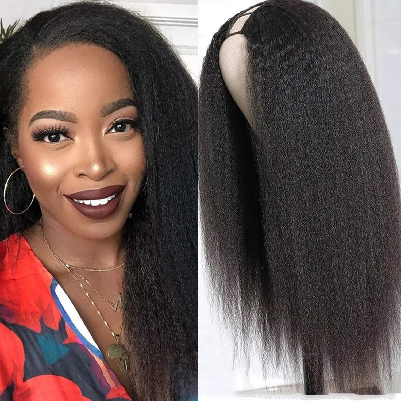 U Part Wig Human Hair Kinky Large discharge sale Yaki Straight Strai Shape Austin Mall Half