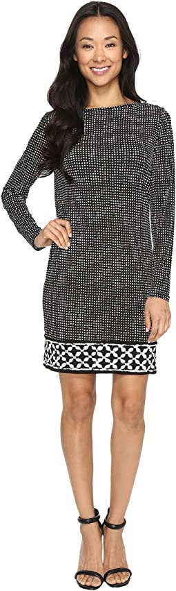 MICHAEL Michael Kors Nezla Long Sleeve Boat Neck Border Dress
