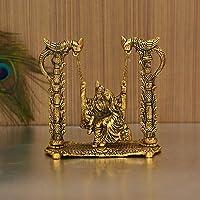 Anytime Metal Radha Krishna Idol on Jhula, Standard, Golden
