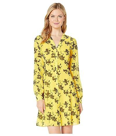 MICHAEL Michael Kors Bold Botanicalical Dress (Golden Yellow/Black) Women
