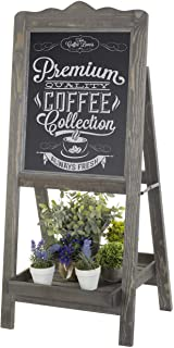 MyGift Rustic Graywashed Wooden Easel Chalkboard Sign with Plant Shelf