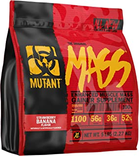 Mutant Mass Weight Gainer Protein Powder – Build Muscle Size and Strength with 1100 Calories – 56 g Protein – 26.1 g EAAs – 12.2 g of BCAAs – 5 lbs with 24 Servings – Strawberry Banana