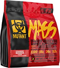 Mutant Mass – Weight Gainer Protein Powder with Whey and Casein Protein Blend for High-Calorie Workout Shakes, Smoothies and Drinks – 5 lbs – Strawberry Banana