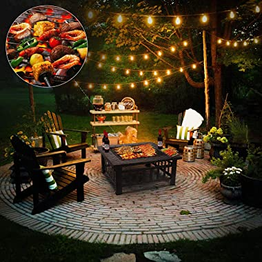 FIXKIT Outdoor Fire Pit Table with Grill, 32in Wood Burning Firepit with Spark Screen, Waterproof Cover, Metal Square Firepit