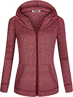 Hibelle Women's Long Sleeve Zip-up Thin Sports Hoodie Sweatshirts with Pockets