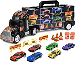 Click N' Play Transport Car Carrier Truck, Loaded with Cars, Road Signs & More. Holdup To 28 Cars. Jumbo 22