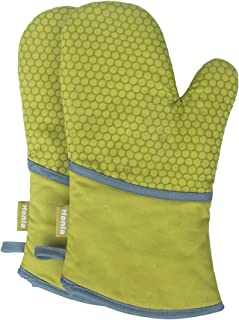Honla Kitchen Oven Mitts with Non Slip Silicone Printed,1 Pair of Heat Resistant Oven Gloves for Cooking,Baking,Grilling,Barbecue Potholders,Green