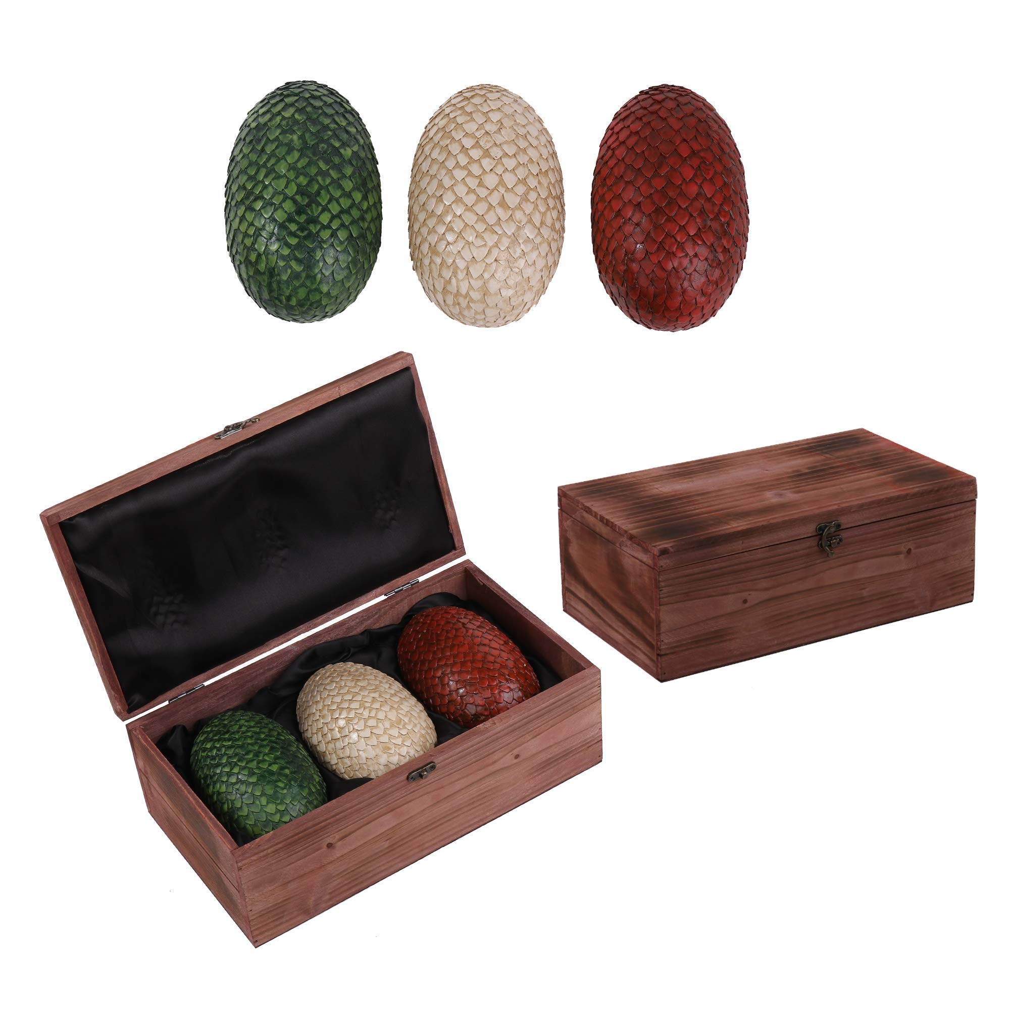 FOLE Game of Thrones Dragon Eggs in Wooden Crate - Set of 3 - GOT Decor Merchandise Collectible Gift - 6 Inches Tall Eggs - Deluxe