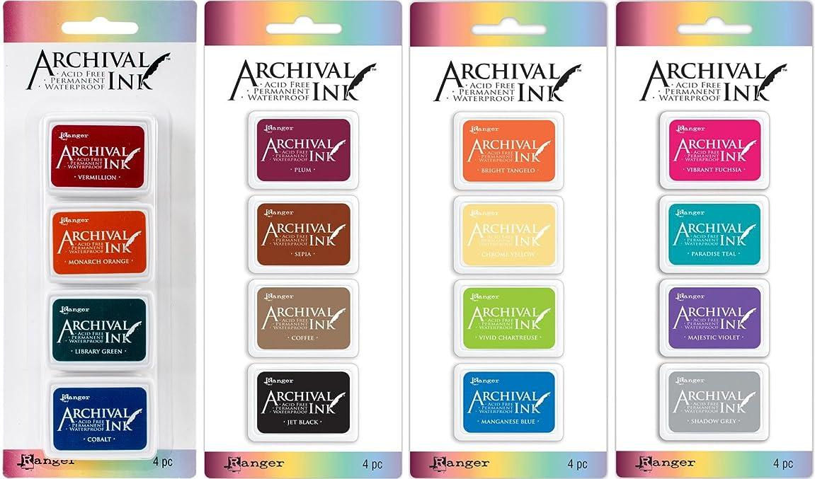 Ranger Mini Archival Ink Pad Sets #1 - #4 - Four Item Bundle cpkrvn949