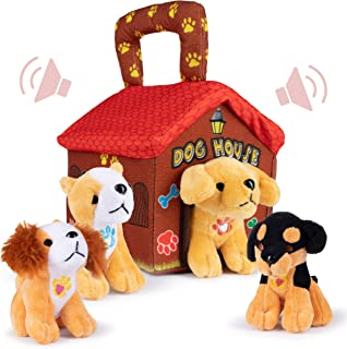 Plush Creations Plush Dog House Carrier with 4 Talking and Barking Soft Cuddly Stuffed Plush Dogs. Excellent Interactive and Educational Toy Set. Great Gift for Kids Toddlers and Babies