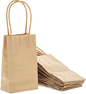 Juvale 50-Pack Bulk Small Kraft Paper Gift Bags with Handles, 6 x 3.5 x 2.5 Inches