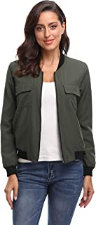 Women's Bomber Jackets Lightweight Casual Zipper Long Sleeve Fall Outwear Jacket with Pockets