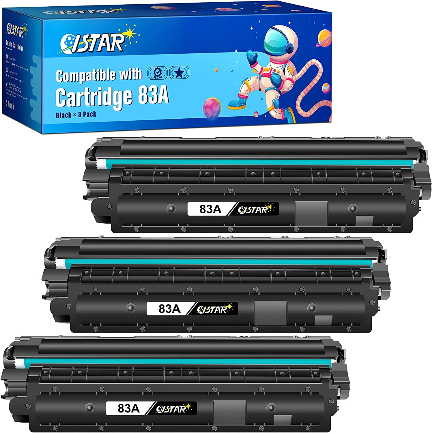 ISTAR Compatible Toner Cartridge Replacement for HP 83A CF283A to use with Laserjet Pro MFP M201dw M225dw M127fn M125nw M127fw Printer (High Yield, 3 Black)