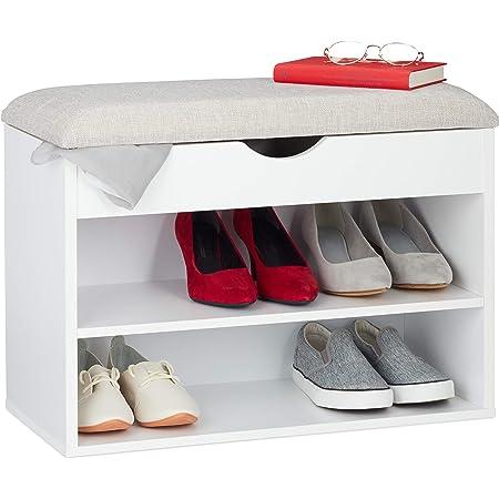 3 pairs Bianco Metallo 31x80x47 cm Relaxdays 10021256/_49 Panca Imbottita con Porta-Scarpe