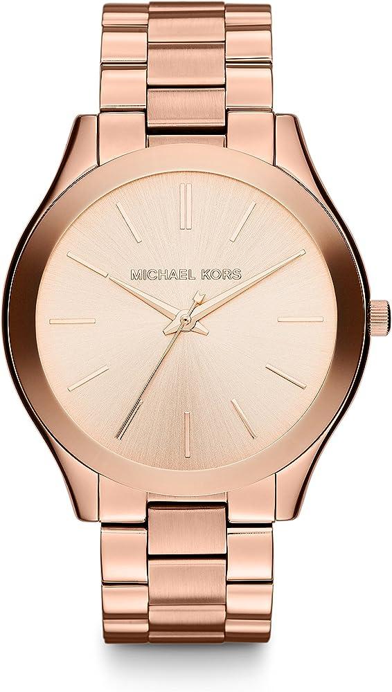 Michael kors, orologio multifunzione unisex, in acciaio rose MK3197
