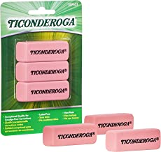 TICONDEROGA Pink Carnation Erasers, Wedge, Medium, Pink, 2-5/16 x 13/16 x 7/17 Inches, 3-Pack (38943)