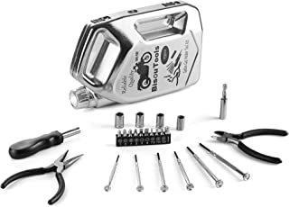 BISOU 25 Pieces Tool Set General Household Hand Tool Kit with LED Lights, Plastic Tool Box with Ideal Tools, Small Tool Kit