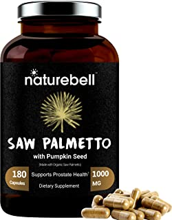 Maximum Strength Saw Palmetto, Made with Organic Saw Palmetto and Pumpkin Seed, 1000mg Per Serving, 180 Capsules.