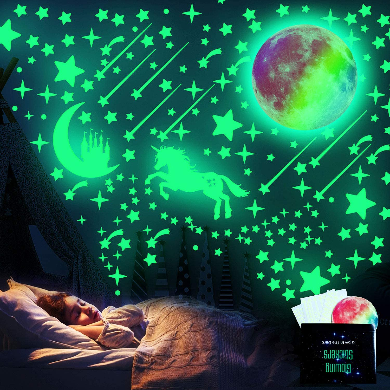 Glow In The Dark Stickers A Adesivi Da Parete Fluorescenti WELLXUNK Luna Decorazione Adesivo Per Decorazioni a Parete Cameretta Bambini Fosforescenti Ragazzo Ragazza Stelle Fluorescenti Adesive