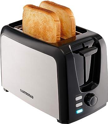 Gastrorag 2 Slice Tostadora - Ranura ancha tostadora de acero inoxidable con 7 ajustes de sombra de pan, funciones de recalentamiento/descongelación/cancelación, bandeja de migas extraíble, toque fresco y fácil de limpiar, negro/plateado