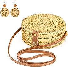 Handwoven Round Rattan Bag Purse Shoulder Leather Straps