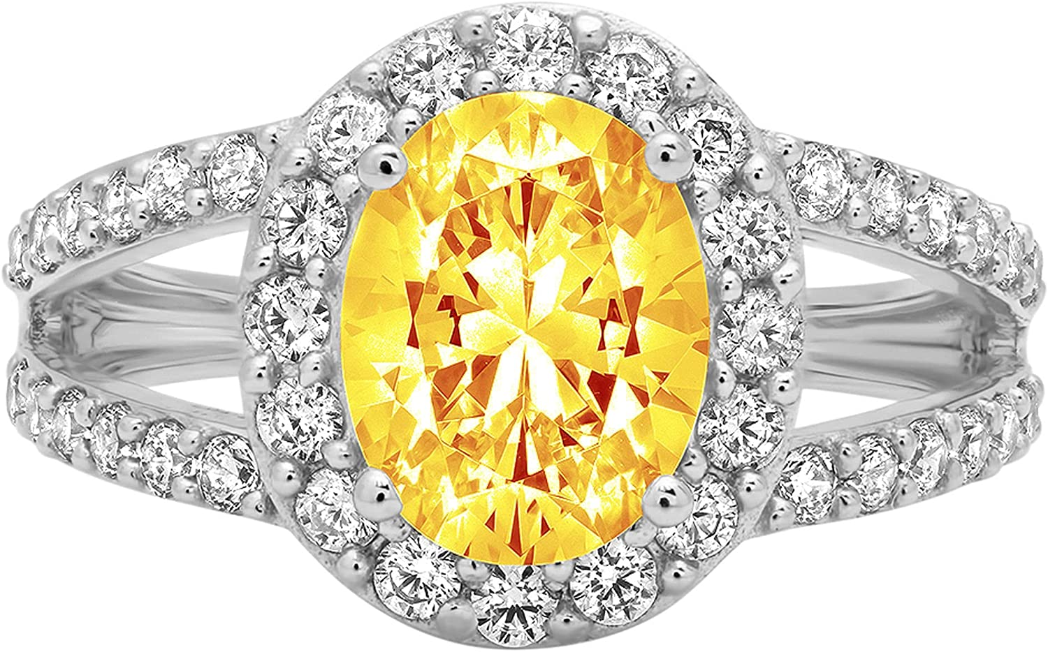 Clara Pucci 2.34 ct Oval Cut Solitaire Accent Halo split shank Stunning Genuine Flawless Natural Yellow Citrine Gem Designer Modern Statement Ring Solid 18K White Gold