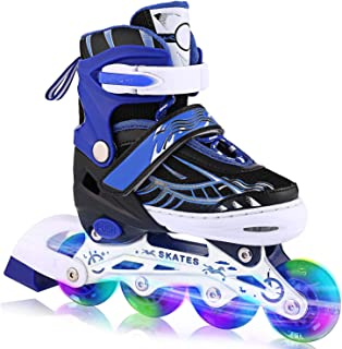 ANCHEER Inline Skates Adjustable with Light Up Wheels Beginner Roller Fun Flashing Illuminating Roller Skates for Kids Boys and Girls 2 Colors and 3 Sizes