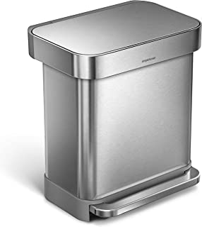 simplehuman 30 Liter Rectangular Hands-Free Kitchen Step Rubbish Bin with Soft-Close Lid, Brushed Stainless Steel