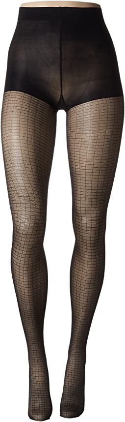 Shimmer Mesh Grid Tights with Control Top