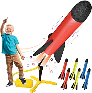 Toy Rocket Launcher for kids – Shoots Up to 100 Feet – 8 Colorful Foam Rockets and Sturdy Launcher Stand With Foot Launch ...