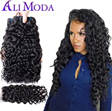 Ali Moda Human Hair Brazilian Water Wave Remy Hair 8A 100% Unprocessed 3 Bundles Human Hair Extensions Weave With 12inch Free Part Closure Natural Black Color(18 16 14+12
