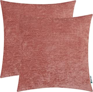 HWY 50 Cashmere Soft Decorative Throw Pillows Covers Set Cushion Cases for Couch Bed Living Room 18 x 18 Inches Rose Powder Comfortable Pack of 2