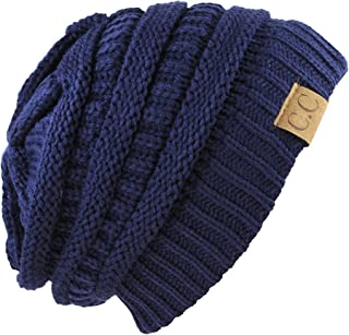 Unisex Trendy Warm Chunky Soft Stretch Cable Knit Slouchy Beanie Skully navy one size fits all