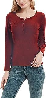Women's Henley Shirts Ribbed Knit Tunic Tops Long Sleeve...