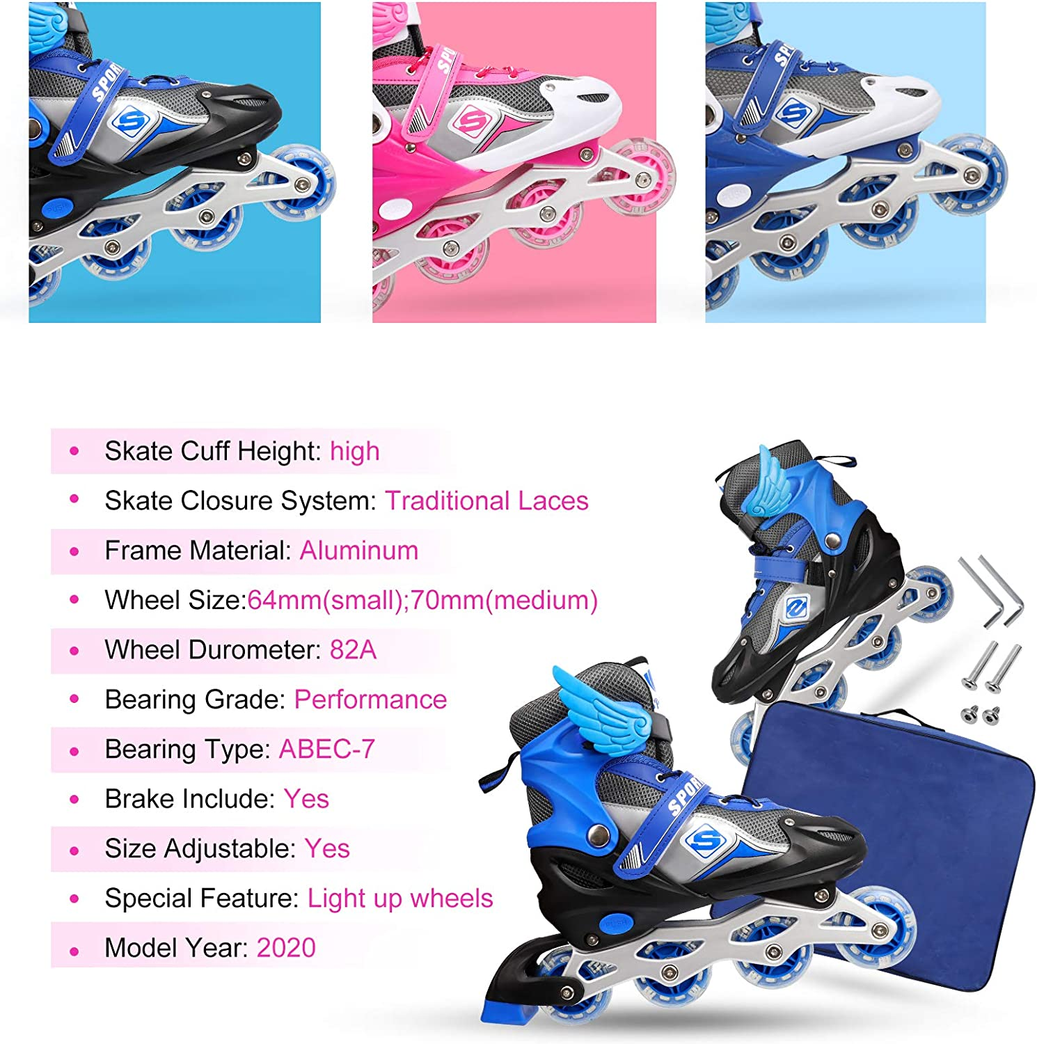 Adjustable Inline Skates for Girls Boys Kids Beginners 2 Sizes and 3 Colors for Choice Blades Roller Skates for Indoor Outdoor Skating Roller Blades with Full Light Up Wheels
