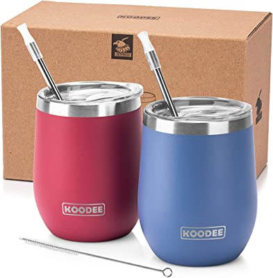 Koodee Wine Tumbler, 12 oz Stainless Steel Stemless Wine Tumbler with Lid Double Wall Vacuum Insulated Wine Cup for Cocktails, Wine, Coffee (Royal Blue-Wine Red)
