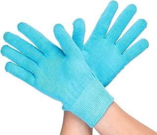 LANGFON Moisturizing Gel Lined SPA Gloves for Women Overnight Repair Dry Hands, Cracked Skin and Exfoliate Skin (Full Finger Gloves Big Size, Blue)