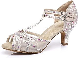 Pierides Women's Suede Sole Rhinestone Ballroom Dance Shoes Latin Salsa Glitter Performance Dance Shoes for 1920s