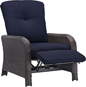 Hanover Outdoor Strathmere Luxury Recliner, Navy Blue