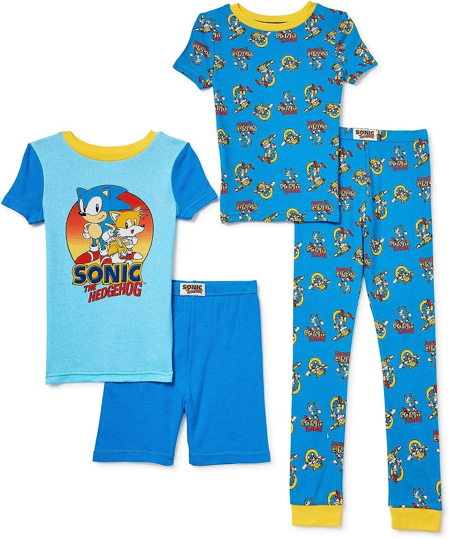 Sonic The online shop Hedgehog Boys' Washington Mall 4-Piece Pajama Ta Cotton and Set