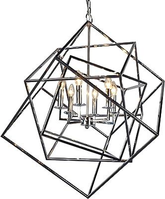Caged Cubist Pendant Metron Chandelier 6 Light Multifaceted Frame