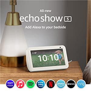 All-new Echo Show 5 (2nd Gen, 2021 release) | Smart display with Alexa and 2 MP camera | Glacier White
