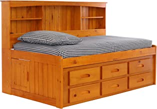Deco 79 Bookcase Daybed with 6 Drawers, Twin, Honey