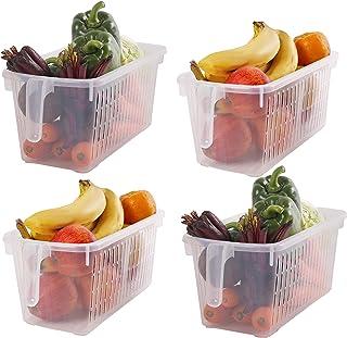 Kurtzy Almacenamiento para Frigorífico (4 Piezas) - (32x15x13,5 cm) Plástico Cestas de Refrigerador con Mango para Organizar Estantes, Alacenas, Baños