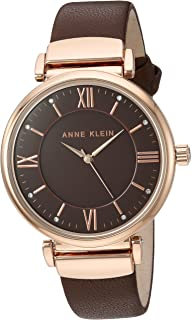 Anne Klein Women's AK/2666RGBN Swarovski Crystal Accented Rose Gold-Tone and Brown Leather Strap Watch