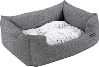 SONGMICS Gray Dog Bed Plush Soft Comfortable Round Cat Bed Removable S Size (S: 60 x 50) PGW22G