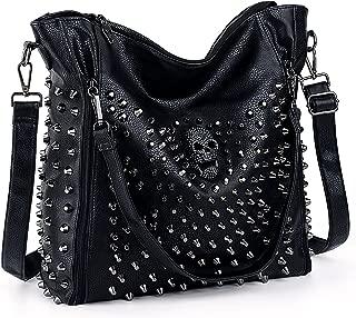 Women Handbag PU Leather Skull Tote Crossbody Shoulder Bag with Wristlet Wallet A Black