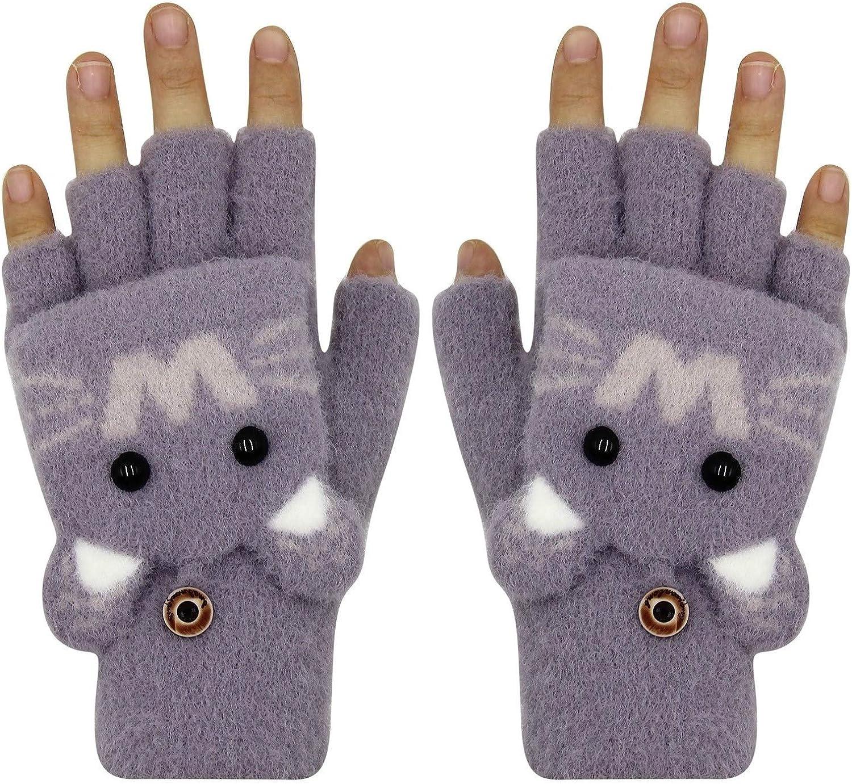 RARITYUS Kids Unisex Cute Cat Warm Gloves Soft Winter Knit Mitten for Boys Girls Glove with Mittens (1 to 13Y)