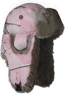 Girls Pink Realtree Winter Aviator Pilot Bomber Hat with Real Rabbit Fur